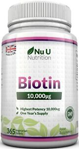 Biotin-10-000mcg-365-tablets-Maximum-strength-Healthy-Hair-Skin-Nails-Growth