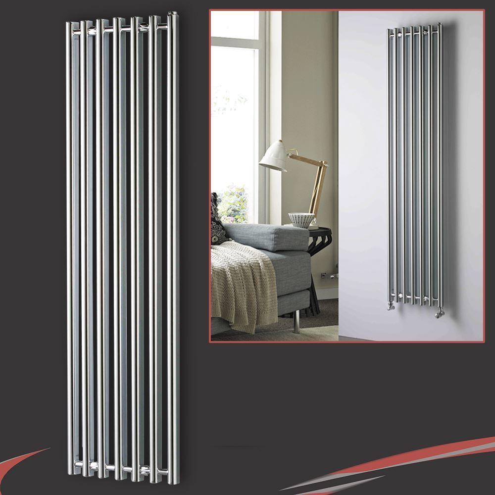 390mm (w) x 1760mm (h)  titan  chrome vertical courbe designer radiateur -4131 btu