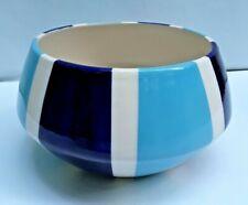 "Vintage Jonathan Adler ""Happy Home"" Blue Stripe MCM Style Ceramic Bowl ~ Peru"