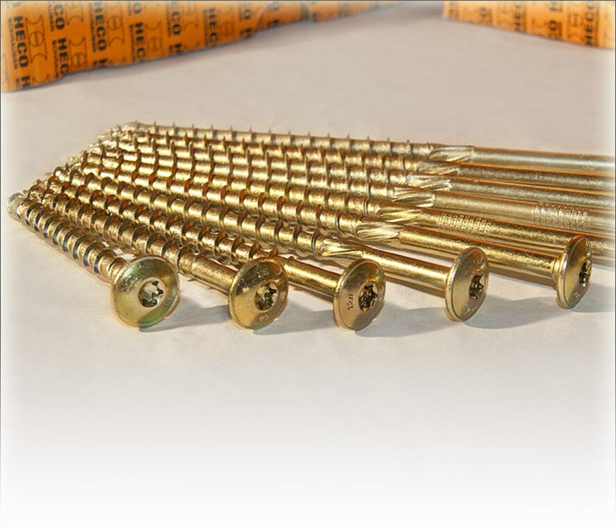 HECO Topix Tellerkopf-Schraube gelb M6-M8-M10 bis 360mm, Holzbauschraube Holzbau