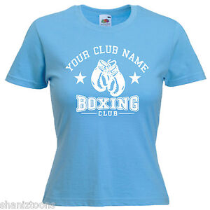 Personalised Boxing Club Logo Ladies Lady Fit T Shirt 13 Colours Size 6-16