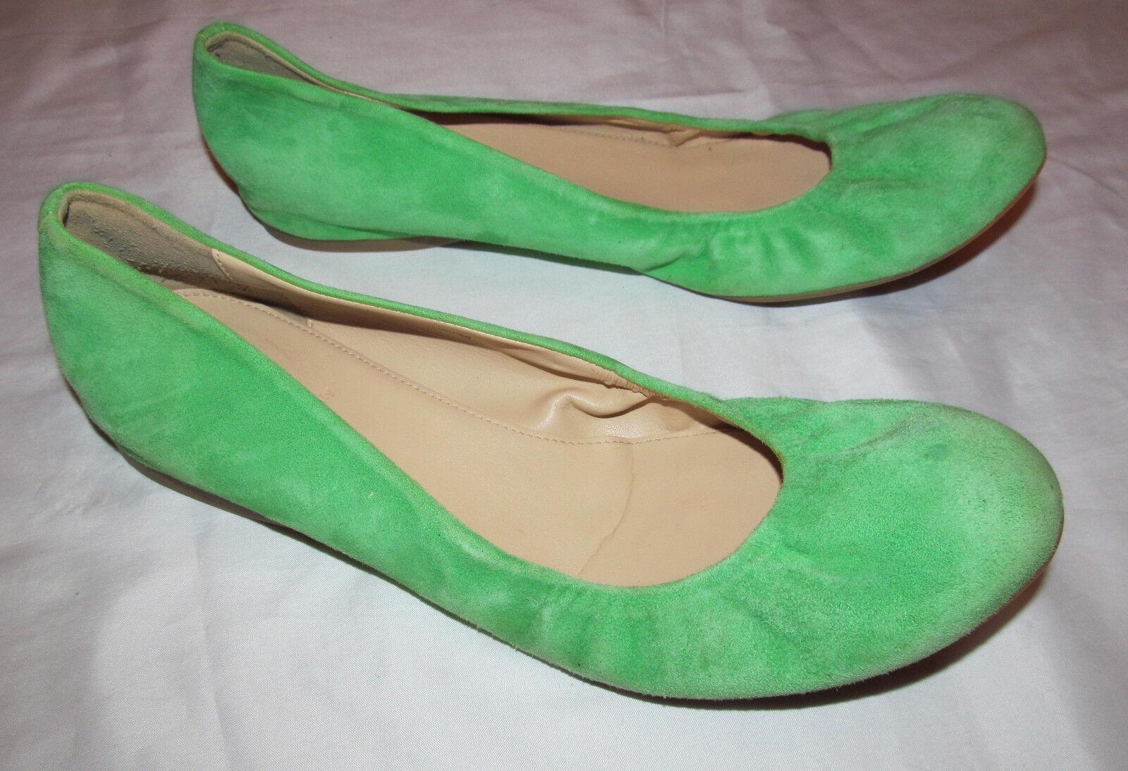 J CREW CECE suede spring light green  Leder ballet flats schuhe 11 M