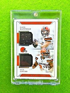 BAKER-MAYFIELD-ROOKIE-JERSEY-CARD-NICK-CHUBB-99-BROWNS-2018-National-Treasures