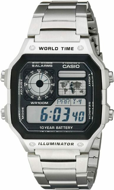 Casio AE1200WHD-1A Men Digital Dial Wristwatch - Silver
