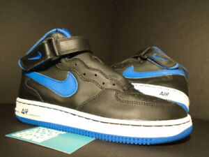 2000 Nike Air Force 1 Mid Sc Black Royal Blue Spark White 653134