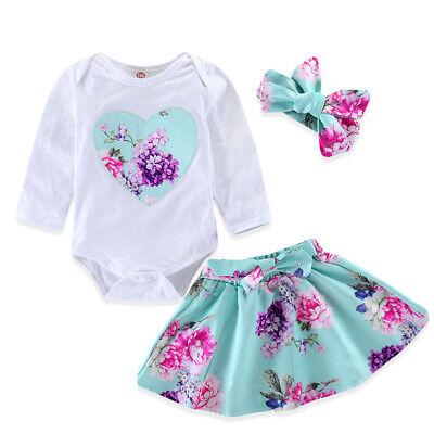 Summer Flower Love Heart Romper Skirt Headband Clothes Outfits for Baby Girls