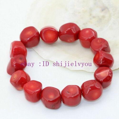 """9-13 mm naturel corail rouge forme irrégulière perle élégant Bracelet 7.5/"""""""