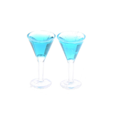 2PCS Dollhouse miniature colorful glass cup goblet bar drinking 1:12 In BSCA