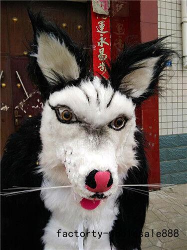 Cosplay Black Long Fur Husky Dog Mascot Costume Suits Adults Dress Halloween US