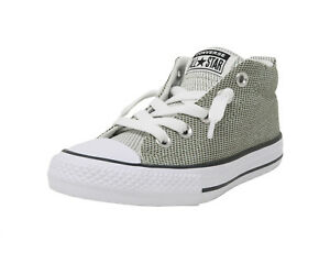 7ae28a775c12 CONVERSE AS Street Mid Knit Sage Olive Green White Sneakers Kids ...