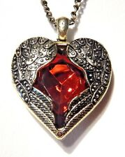 RED ANGEL WINGS HEART PENDANT  bronze gold bird love necklace cupid new W5