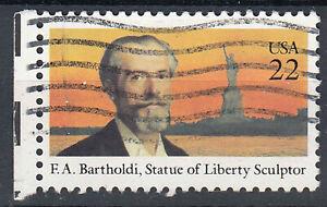 Estados unidos sello con sello 22c F.A. Bartholdi sculptor estatua borde izquierdo/3082
