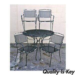 Vintage Wrought Iron Outdoor Patio Dining Set Table 4 Chairs