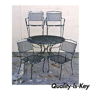 Vintage Wrought Iron Outdoor Patio Dining Set Table 4 ...