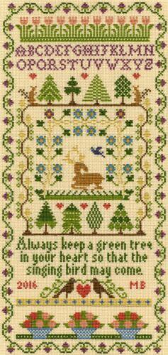 Bothy Threads ~ contati Punto Croce Kit campionatore ~ ~ Green Tree ~ XS2