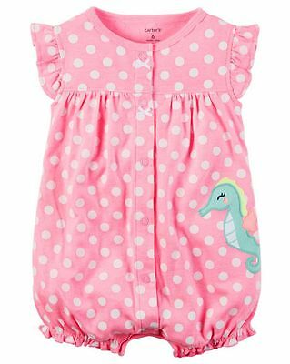 New Carter's Girls Sea Horse Applique Summer Romper Outfit NWT 3 6 9 12m 18m 24m
