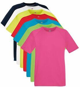 Tinta-Unita-da-Uomo-Traspirante-Performance-Sport-Atletico-Maglietta-T-Shirt