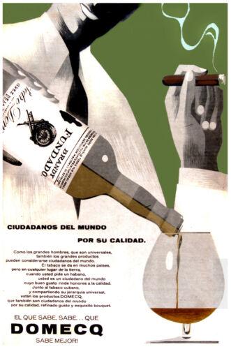 Brandy ad POSTER.Stylish Graphics Fundador Domeq.Cigar /& Bar Decor 36i