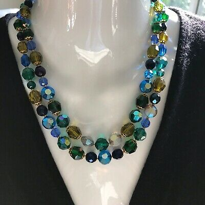 Vintage JONNE House of Schrager Black Glass Bead Necklace