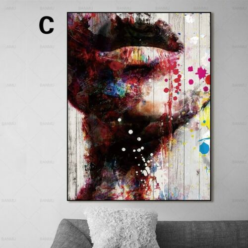 Graffiti Art Canvas Painting Wall Picture Abstract Face and Lip Portrait  Art