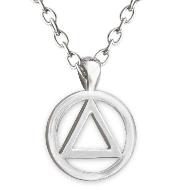 AA Circle Triangle Shiny Silver Finish Necklace/Pendant
