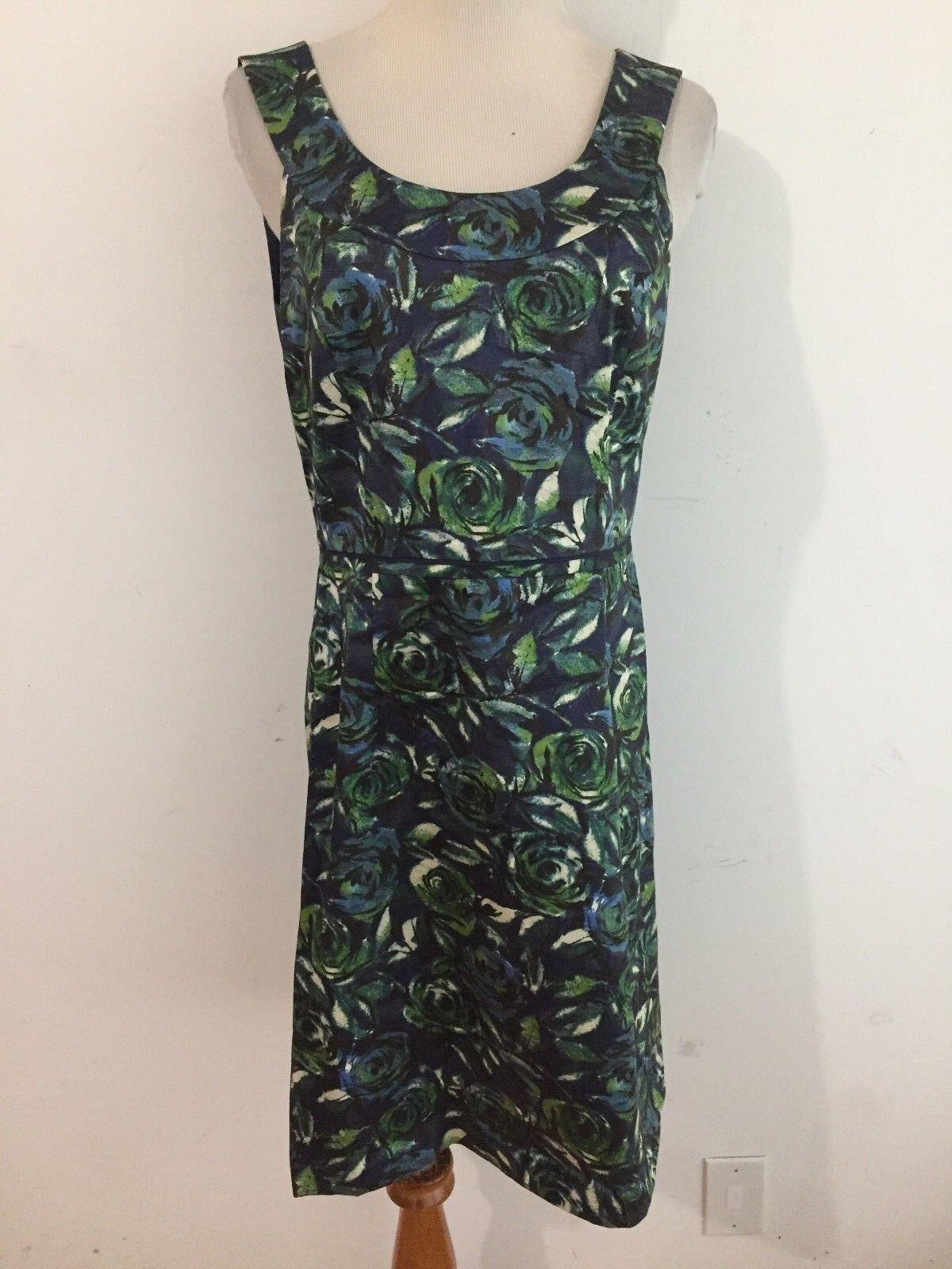 3dbed916ab7c Ann Taylor LOFT Sleeveless Sheath Dress Navy Azure Green Beige Floral Sz 4  NWOT