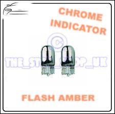 2x Chrome Indicatore Lampadine T10 W5W 501 Laterale Ripetitore flash Ambra
