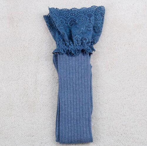 US Women Over The Knee Socks Lace Plain Legging Long Thigh High Soft Stocking hi