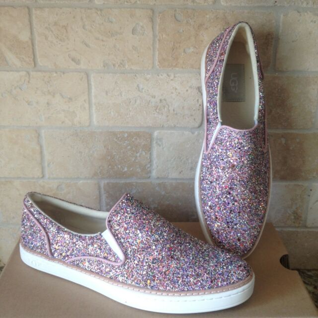 957bcdc4a8c UGG ADLEY CHUNKY GLITTER CONFETTI PINK LEATHER SLIP-ON SHOES SIZE US 6.5  WOMENS