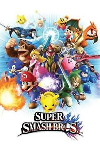 NINTENDO-SUPER-SMASH-BROS-BROTHERS-VIDEO-GAME-POSTER-NEW-24x36-FREE-SHIPPING
