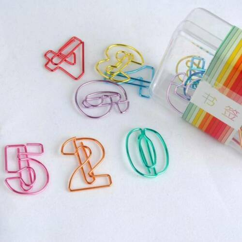 Paper Clips Creative Metal Color Number Shaped Clamps Bookmark Art Projects KS