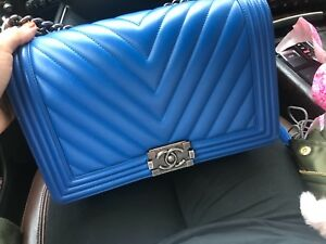 Image Is Loading Chanel Bag Blue Medium Chevron Gently Used Condition
