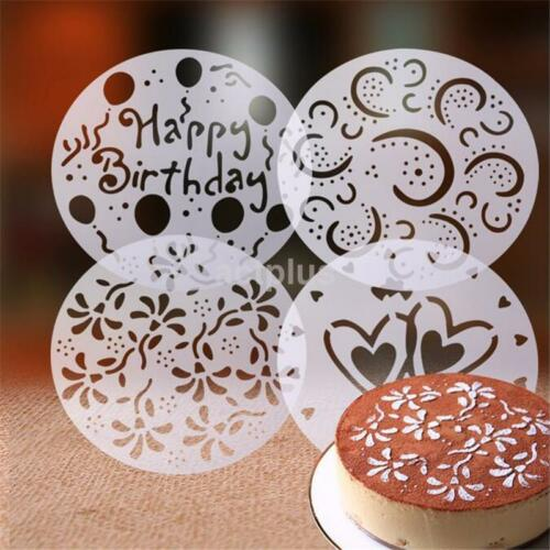 4PCS Round Flower Heart Cake Stencils Fondant Sugarcraft Mold Mould Cake Decor