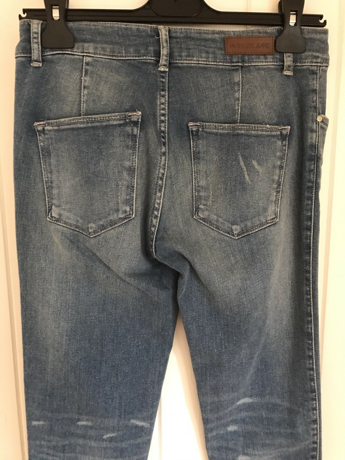 Senza Cuore da Donna Jeans Blu Denim Elasticizzato Pantaloni Pantaloni Pantaloni Girovita 29  RRP 7d2df6