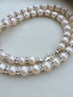 Designer Aa Freshwater Pearl And Diamante Bridal Necklace Handmade Jewelry Gift