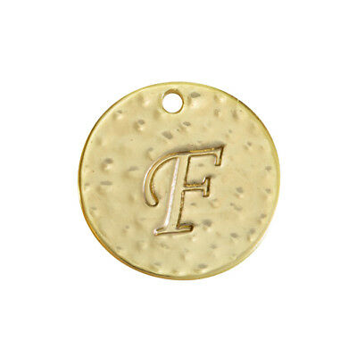 R53//2 Letter /'D/' Disc Charm Pendant 15mm Matte Gold Plated Pack of 1
