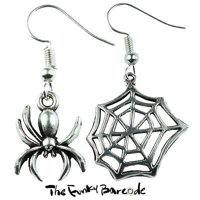 TFB BLACK SPIDER /& COBWEB STUD EARRINGS Novelty Fancy Dress Halloween Retro