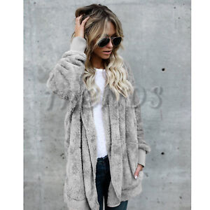Details about UK Womens Teddy Hooded Fluffy Coat Fleece Faux Fur Jacket Ladies Tops Cover