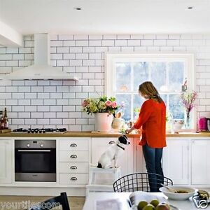Kitchen Tiles London tile deals / samples london metro matt white bevelled brick wall