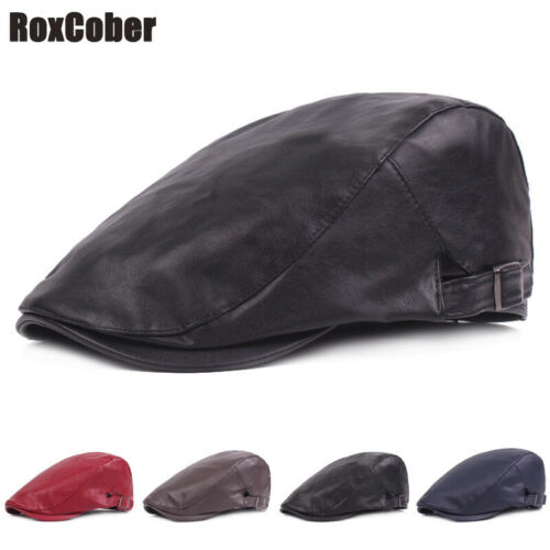 RoxCober New Men/'s Leather Ivy Flat Cap Gatsby Hat Plaid Beret Newsboy Boina Hat