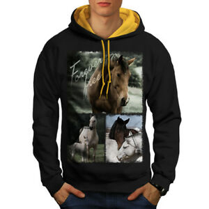 New Hood Horse Black Hoodie Men Wild Mustang Animal Contrast gold qZ4Ypq