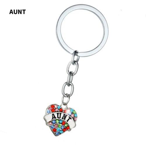 Rhinestone Keychain Heart-Shaped Family Key Ring Charm Pendant Handbag Accessory