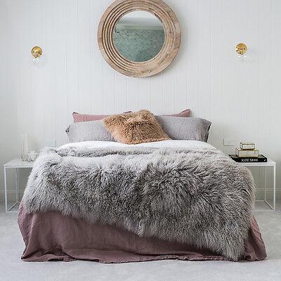 Genuine Mongolian Sheepskin Blanket - Light Grey
