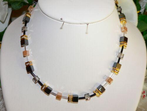 Cadena de cubo collar negro brillo oro vaso de cristal gris beige pedrería 064l