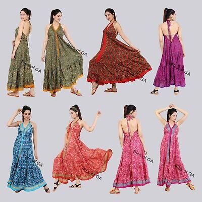 5 PC LOT Women Boho Floral Swing Long Maxi Dress Ladies Summer Beach Hippie
