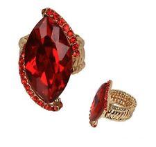 Gold Red Ruby Rhinestone Crystal Stretch Stunning Ring