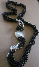 Vintage BLISTER PEARL Multi Strand Black, Pearl & Gold Beaded Long Necklace
