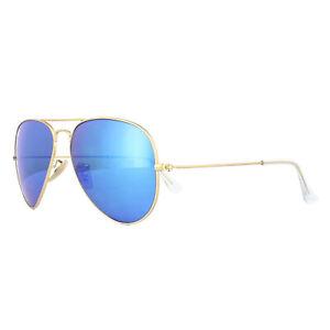 Ray-Ban-Sunglasses-Aviator-3025-112-17-Matt-Gold-Blue-Mirror-Small-55mm