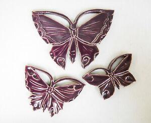 BUTTERFLY Mosaic Tiles, Handmade Ceramic Art Wall Decor, Purple Tiles Set of 3