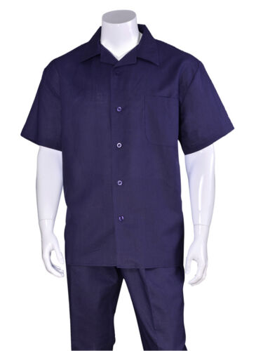 New Men/'s 2pc Luxury Linen Solid Color Short Sleeve Casual Walking Suit Set 2806